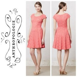 Anthropologie, Maeve Coral Dayflower Lace Dress, M